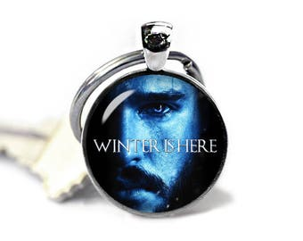 Winter is Here Keyring Jon Snow Keychain Game of Thrones Keyfob Jon Snow Keyring