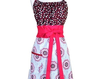 Womens Retro Kitchen Berry and Grey Polka Dot and Medallions Vintage Inspired Cooking Hostess Apron with Pocket (CS)