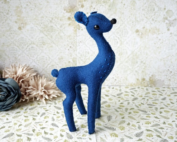 Deer, Deer Art, Deer Love, Deer Doll, Bambi, Small Deer Figurines, Christmas gift, Bambi Baby, Soft Sculpture, Gift for him, Handmade, Blue