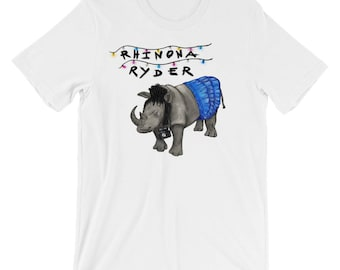Unisex - Rhinona Ryder (Winona Ryder) Stranger Things, Heathers, Beetlejuice mash-up on short sleeve t-shirt