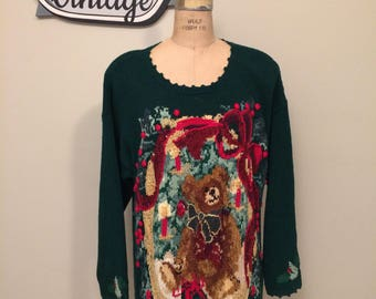 Teddy Bear Holiday Sweater Size Large   Oversized   Maggie Lawerence   Intarisa   Ugly Christmas Sweater   Holiday Sweater