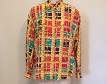 Vintage Silk Print Rope Pattern Multi-Color Blouse | Size Large | 1980's-1990's | Padded shoulders | Boxy Fit | Over Sized