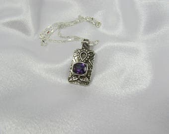 "Item 6093 - ""Purple Bloom"" Handcrafted & sculpted 999 Fine and 925 Sterling Silver Rectangle Amethyst CZ with Flowers"