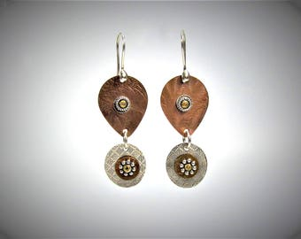 Item 4200-26 Handcrafted Sterling and Copper Textured Lightweight Tear Drop Shape Dangle Earrings