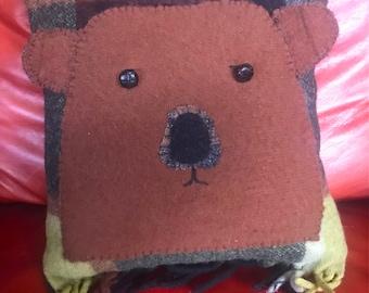 Brown Bear Face Pillow