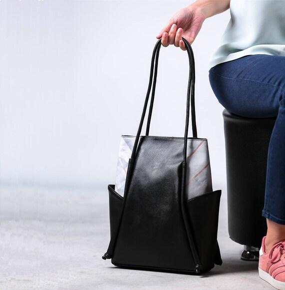 Black leather shoulder bag, Vegan leather bag, Leather and Canvas Bag, Minimalist Hobo bag, Leather tote bag, Marble, Mothers day gift