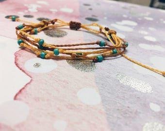 Cyan Glass Bead Macrame Bracelet
