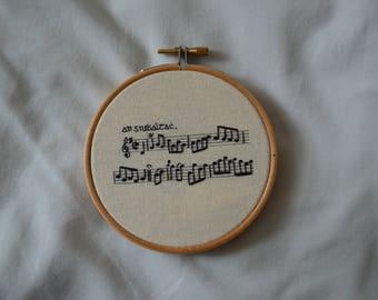 Traditional Irish sheet music hand embroidery
