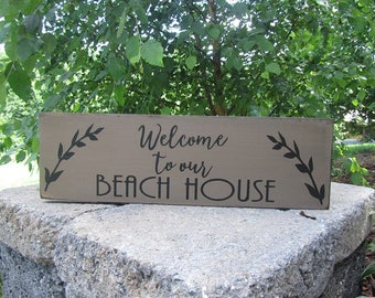 Welcome To Our Beach House sign, wood sign, beach house sign, coastal living, beach decor, vacation home decor