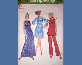 Vintage 1970 Simplicity Misses' and Women's Dress in Two Lengths, Tunic and Pants Sewing Pattern / Retro Dress Making