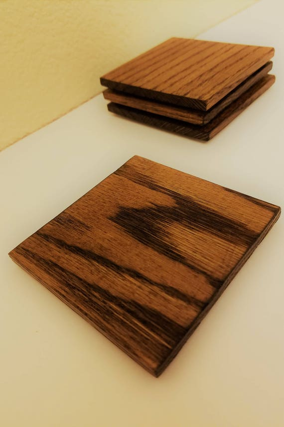 "Natural Red Oak Drink Coasters - 3.5""x3.5"" - Set of 4 - Multiple colors available"