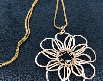 Vintage Chain Bronze Jewelry Necklace. Hammered Wire Weaved bare bronze - looks like red gold Mandala Flower Pendant. Bare Bronze Jewelry.