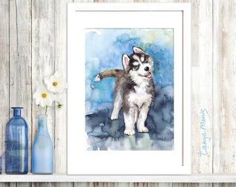 Husky Original watercolor painting (Siberian Husky)