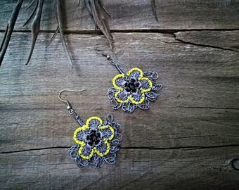 Gray yellow soft earrings Turkish oya earrings Turkish crochet earrings Seed beads earrings Grey lace jewelry Flowers floral jewelry Fashion