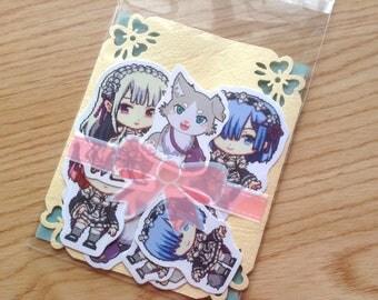 Re:Zero Stickers, anime stickers, Rezero stickers, Re Zero stickers, Rem stickers, Emilia stickers, Ram stickers, Pack stickers, chibi