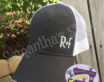 Charcoal Gray and White R+F Hat, Embroidered Rodan and Fields Hat, Trucker style R+F Hat, Monogrammed Hat