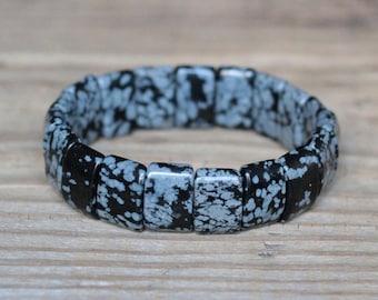 Snowflake obsidian bracelet lucky stone bracelet black obsidian jewelry balance bracelet healing crystal gemstone birthday gift for him her