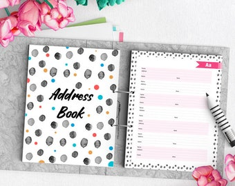 Address Book, Phone Book, Printable Planner, Contacts Organizer, 8.5x11, Instant Download