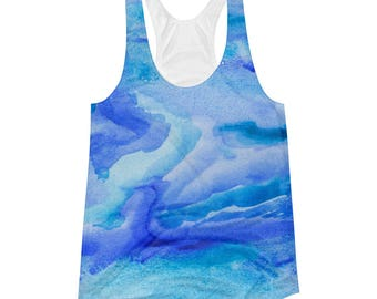 Blue Tie Dye Tank- Printed Blue Teal Turquoise Top, Unique Workout Shirt, Marble Patterned Ocean Blue Swirl Tank, Womens Watercolor Clothing