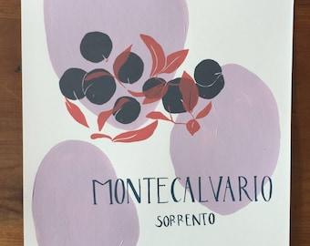 Naples 'Oranges' - original pink A4 screen print