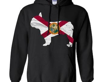 French Bulldog Hoodie, Florida State Flag Hoodie, French Bulldog Shirt, French Bulldog Sweatshirt, French Bulldog Hooded Shirt, Gift for Him