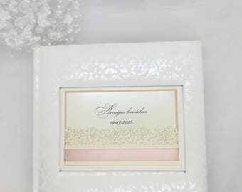 White christening Album, Picture Album, Wedding Photo Album with clear pockets, Clear pockets, Satin ribbon, Wedding memories, 4x6 photos