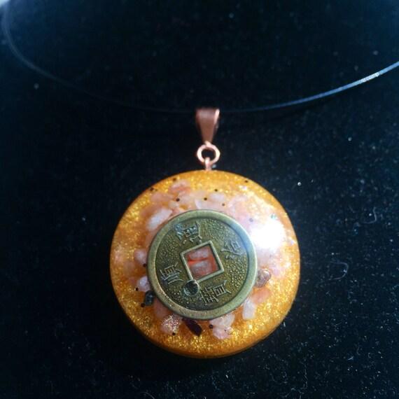Chinese Luck Coin Orgonite® Pendant- Manifestation & Abundance Orgone Talisman- Money Orgone- Good Luck Orgonite Charm- Sunstone