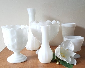 Milk Glass Vase Lot of 6 White Glass Pedestal Compote and Vase Instant Collection Mid Century Wedding Decor