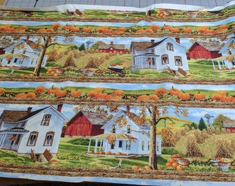 Bringing in the Harvest-Rows of Houses Cotton Fabric from Wilmington Prints