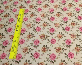 Pink Flowers on Beige Cotton Fabric from Timeless Treasures