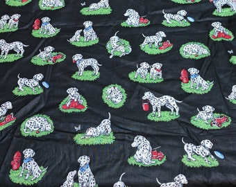 Dalmation Fire Dogs on Black Cotton Fabric