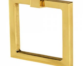 """Cabinet Pulls-Solid Brass 2"""" Square Ring Pulls-Brass Pulls- Square Pulls Drawer Pulls -"""