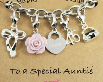 Happy 45th Birthday Rose Lucky Charm Bracelet Gift for Bestie, Sister, Niece, Mam, Special Friend.