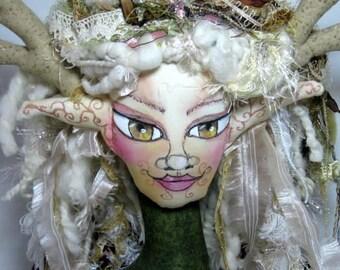 Forest Goddess Bust Art Doll, Soft Sculpture Fantasy Display Cloth Art Doll