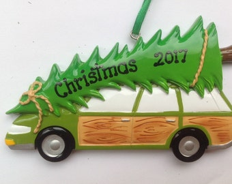 33% Off Personalized Truckster, Station Wagon Green Vehicle Christmas Ornament - Hostess, Family , Neighbors , Grandparents Gift