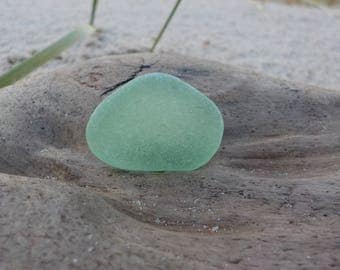 "Genuine Perfectly smoothed flawless Light green Sea Glass piece-Size 0.9""-Jewelry Quality -Rare Sea Glass-Pendant size Sea Glass#J113"