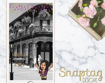 Custom Snapchat Geofilter || thirty af, new orleans, mardi gras, birthday filter, 30th birthday, sweet sixteen, girl birthday, bitmoji