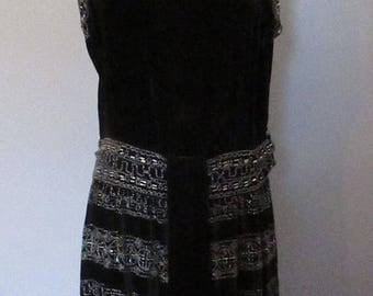 Mid-Summer Sale 20%OFF Black Velvet Beaded 20s Evening Dress