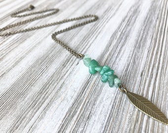 Aventurine Pendant Necklace // Long Necklace // Boho Necklace // Natural Stone Necklace // Green Stone Necklace // Gift for Her // Unique