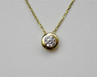 14k Gold Necklace, Solid Gold Necklace, Solitaire Necklace, Real Gold Necklace, White Gold Necklace, Simple Gold Necklace, Necklace For Her