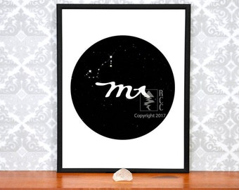 Scorpio Art, Scorpio Constellation, Scorpio Star Sign, Scorpio Gift, Zodiac Print, Constellation Map, Scorpio Gifts