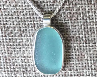 Perfectly Shaped Aqua Sea Glass Necklace