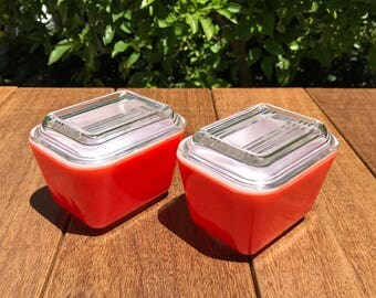 Vintage Pyrex Refrigerator Jars with Lids - Pyrex Red