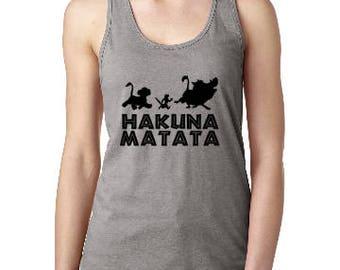 Hakuna Matata Womens Tank, Disney Epcot  Shirt, Womens Disney Shirt, Disney Mouse Tank, Custom Disney Shirt, Disney  Racerback Tank.