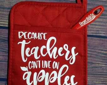 Teacher Gift Set, Teacher Potholder and Spatula Set, Personalized Teacher Gift