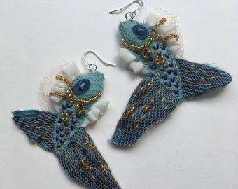 Embellished Fish Earrings Blue