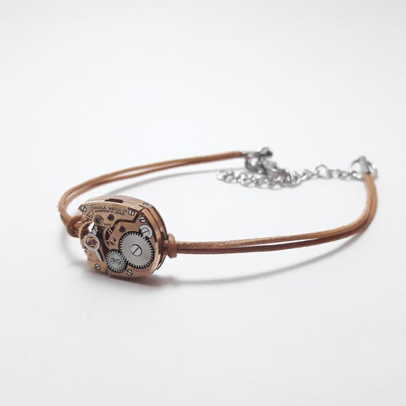 Women bracelet leather nude with a watch gear Omega rose gold