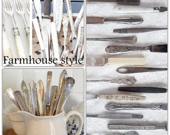 Mismatched flatware, silverware set, flatware set, flatware service for 4 up to 500, wedding silverware, mix and match, farmhouse style