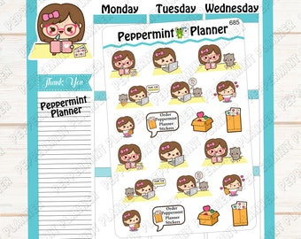 685 Little Girl Happy Mail --- Planner stickers --- 685