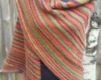 Hand Made, Hand Knit Red/Rust/Orange/Green/Olive Multicolored Shawl, Women's Accessory